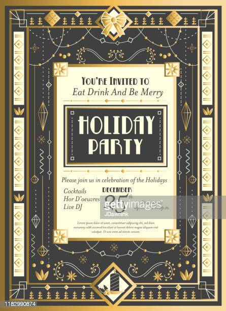 art deco christmas invitation design template with detailed ornaments and beads - art deco stock illustrations