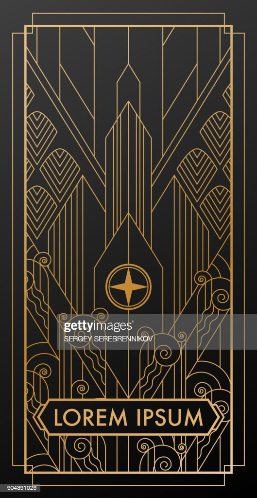 art deco city gold invitation