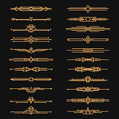 Art deco dividers and decorative golden headers