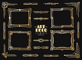 Art deco elements. Gold wedding deco frame border, classic dividers and corners. 1920s retro luxury art golden abstract vector design