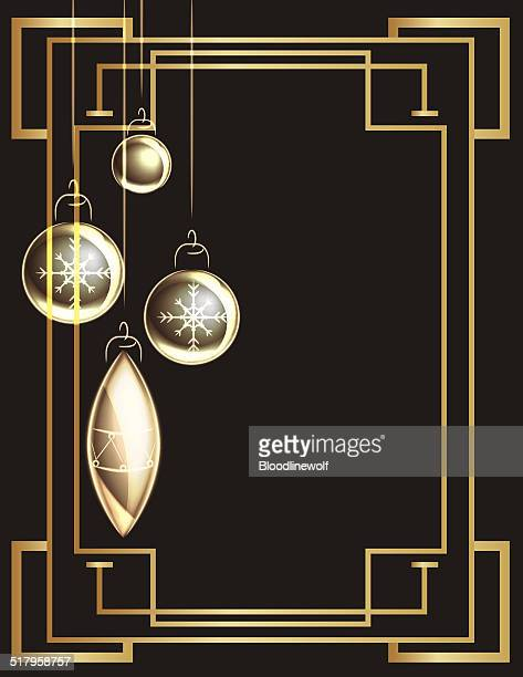 art deco frame and christmas ornaments - gatsby image stock illustrations
