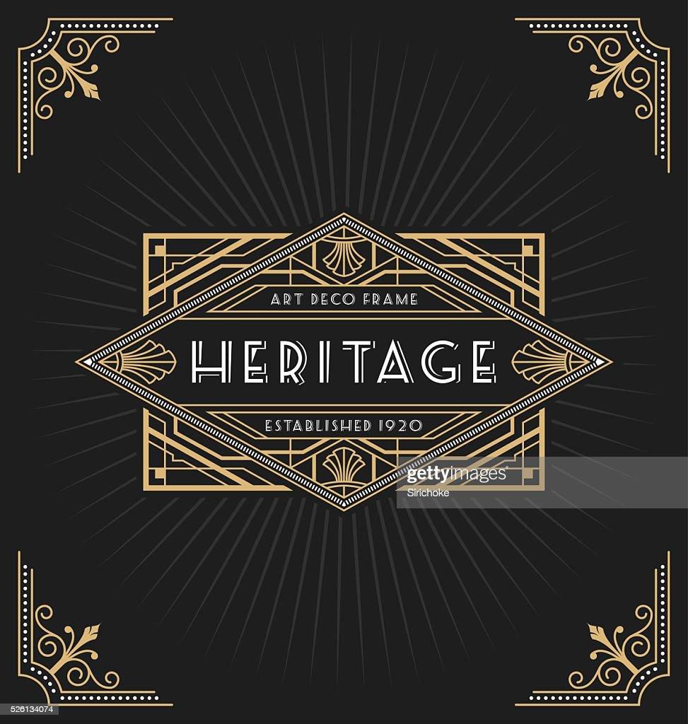 Art deco frame and label design