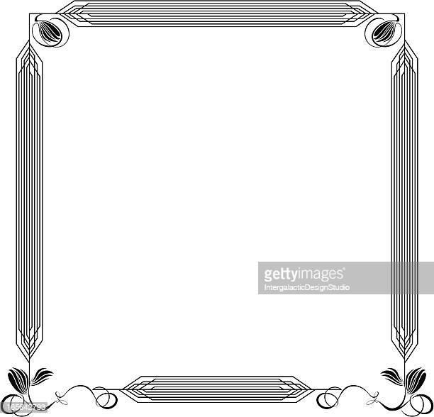 アールデコのフレーム - 黒枠点のイラスト素材/クリップアート素材/マンガ素材/アイコン素材
