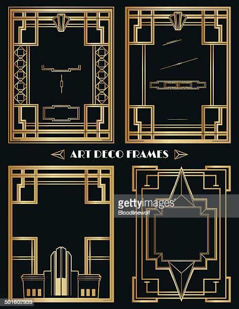 art deco frames and ornament set - gatsby image stock illustrations