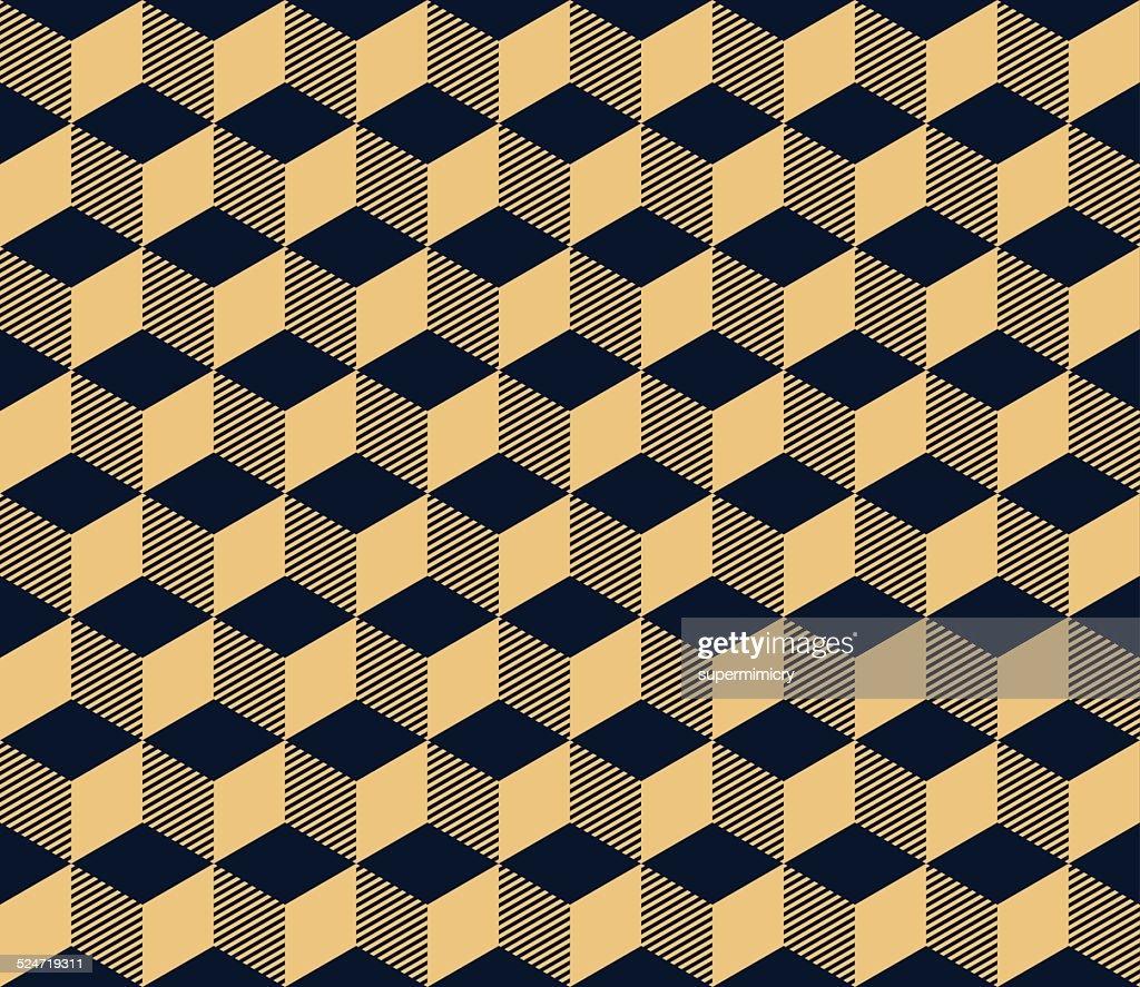 art deco geometric seamless pattern of cubes