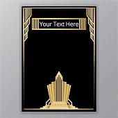 Art deco golden black elegant page design