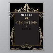 Art Deco golden black  page template
