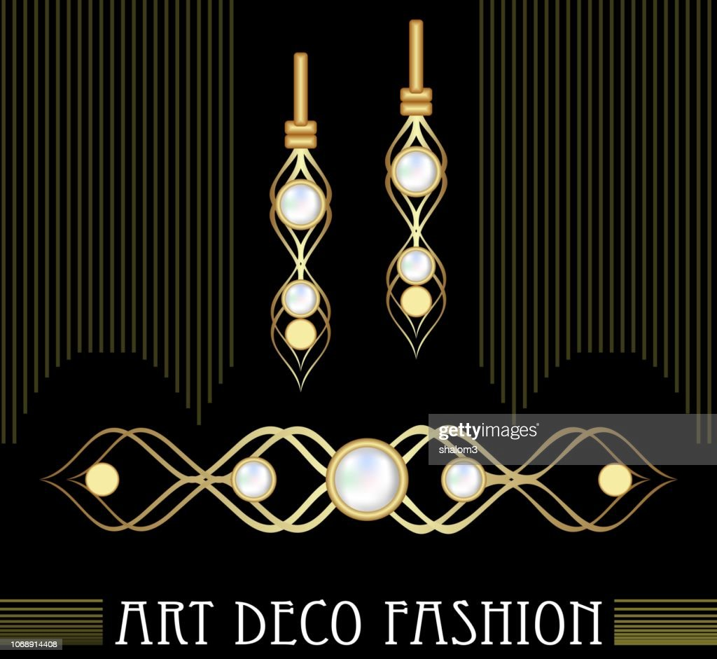 Art deco golden jewel set. Earrings and brooch with expensive pearls. Nice victorian jewellery.