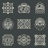 Art Deco Insignias Retro Design Logotypes Template Set.