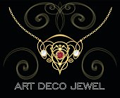 Art deco jewel. Vintage gold necklace in victorian style. Retro