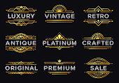 Art deco label. Retro luxury geometric ornaments, vintage ornament frame and hipster decorative lines labels vector illustration set
