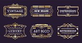 Art deco labels. Vintage ornamental logos, 1920s vintage golden badge, nouveau decorative banners. Vector art deco emblems