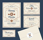 Art Deco Letterpress Wedding Invitation Design Template
