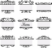 Art deco menu labels isolated on white background. Vintage vector elements