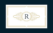 Art Deco Monogram Business & Invitation Card