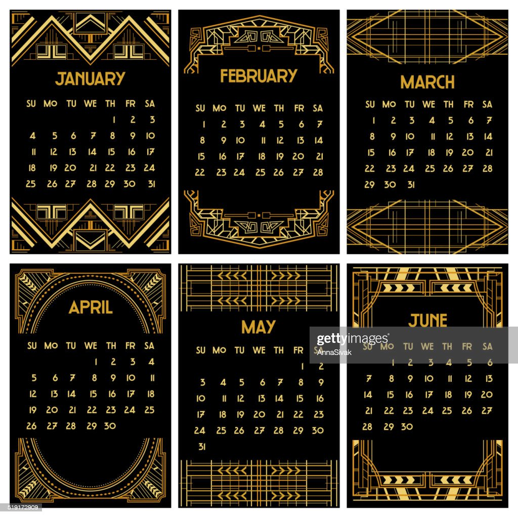 Art Deco or Gatsby Calendar 2015