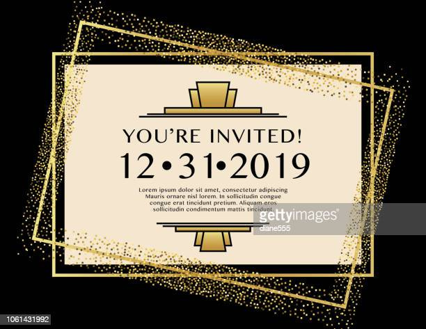 art deco party invitation on geometric background with glitter - gatsby image stock illustrations