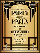 Art Deco Party Invitation Template In Black and Gold