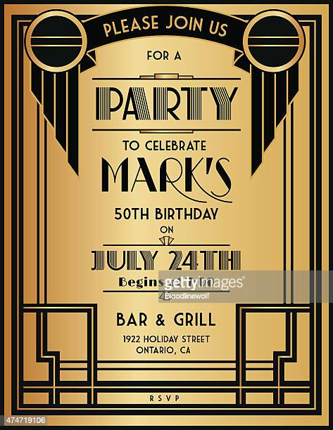 アールデコ様式のパーティの招待状テンプレートをブラックとゴールド - 1920~1929年点のイラスト素材/クリップアート素材/マンガ素材/アイコン素材
