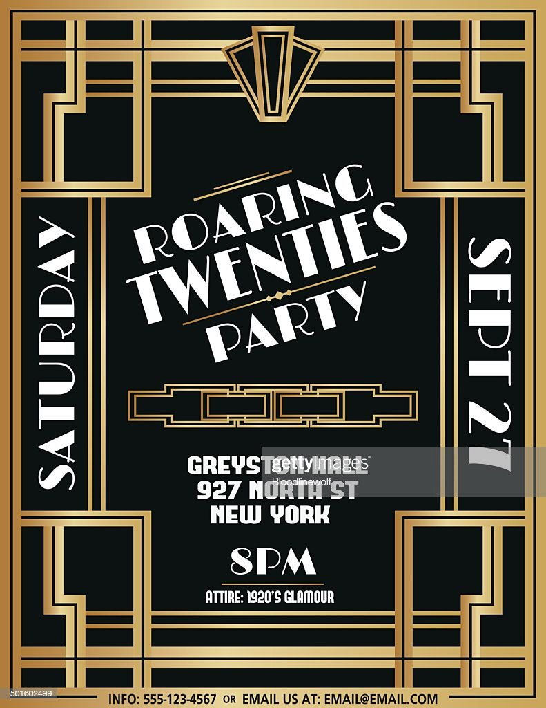 Art Deco Party Invitation Template Vector Art   Getty Images