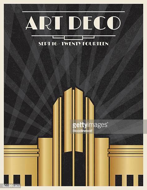 art deco party invitation template - gatsby image stock illustrations