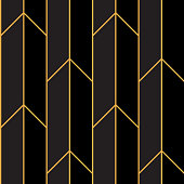Art Deco Pattern Gold Straight Lines
