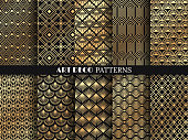 Art deco pattern. Golden minimalism lines, vintage geometric arts and deco line ornate seamless patterns vector set