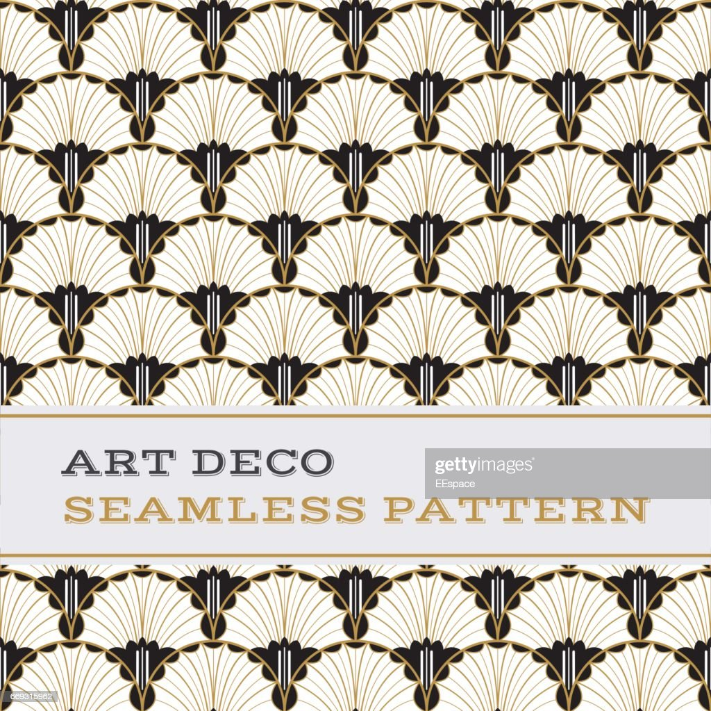 Art Deco seamless pattern  black white and gold colours 04