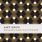 Art Deco seamless pattern  black white and gold colours 06