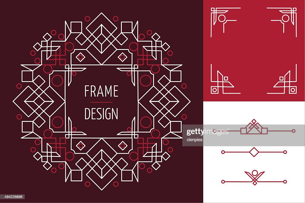 Art deco set frame abstract geometry mono line