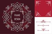 Art deco set frame abstract geometry mono line