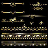 Art deco   set of objects and borders