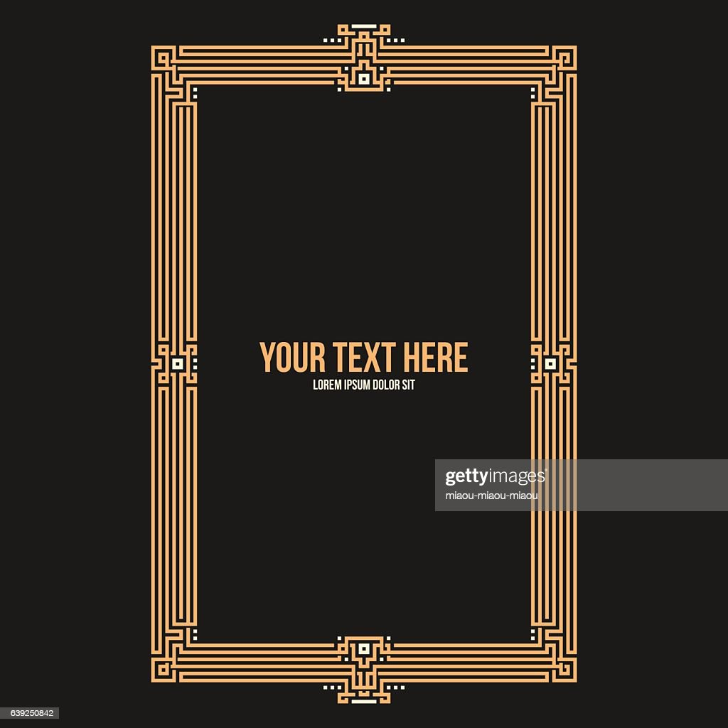 Art deco square frame with native american elements