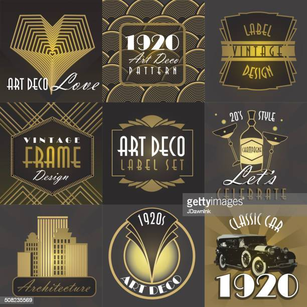 Art Deco style big set of labels or badges