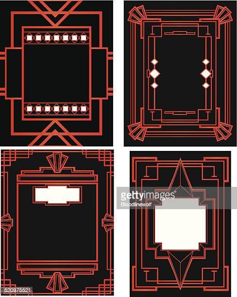 art deco style frame set - gatsby image stock illustrations