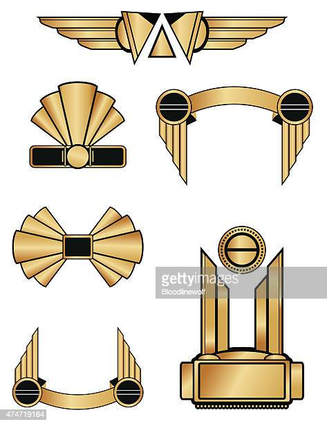 art deco style geometric ornaments and decorations in black and gold - gatsby image stock illustrations