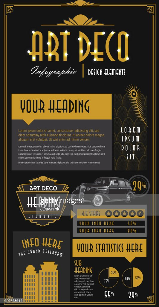 art deco style infographic design elements template ベクトルアート