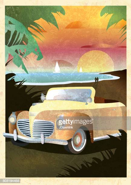 Art Deco style Paradise classic convertible car poster design