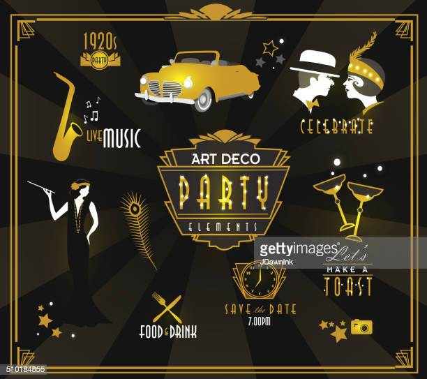 art-deco-stil party-symbol und logo-set - social grace stock-grafiken, -clipart, -cartoons und -symbole