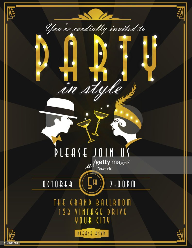 Art Deco Style Party Invitation Design Template Champagne And Faces ...