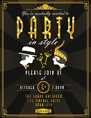 Art Deco style  party invitation design template champagne and faces