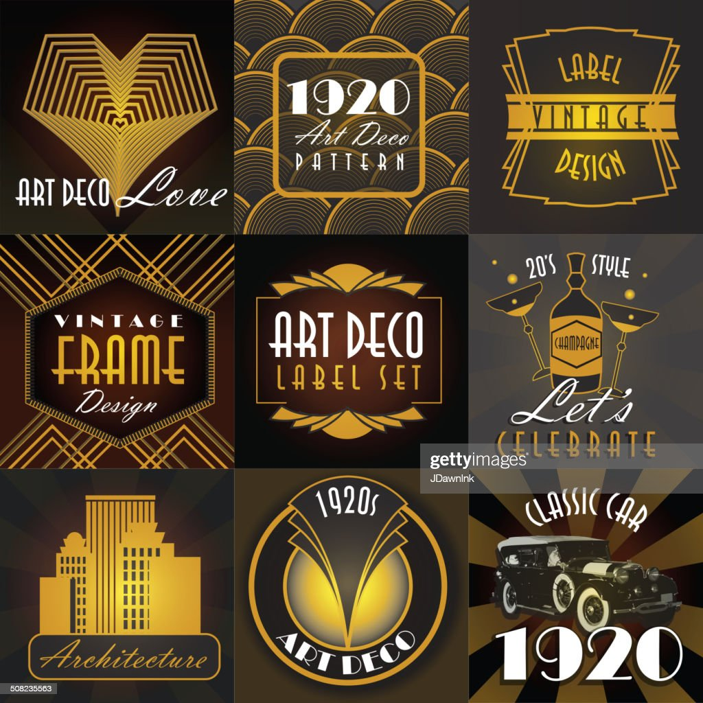 Art Deco style set of label design templates