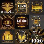 Art Deco style set of label design templates