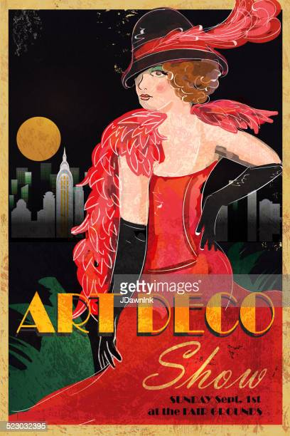 Art Deco style vintage advertisement poster template