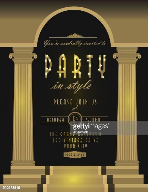 art deco style vintage invitation design template brown pillars - gatsby image stock illustrations