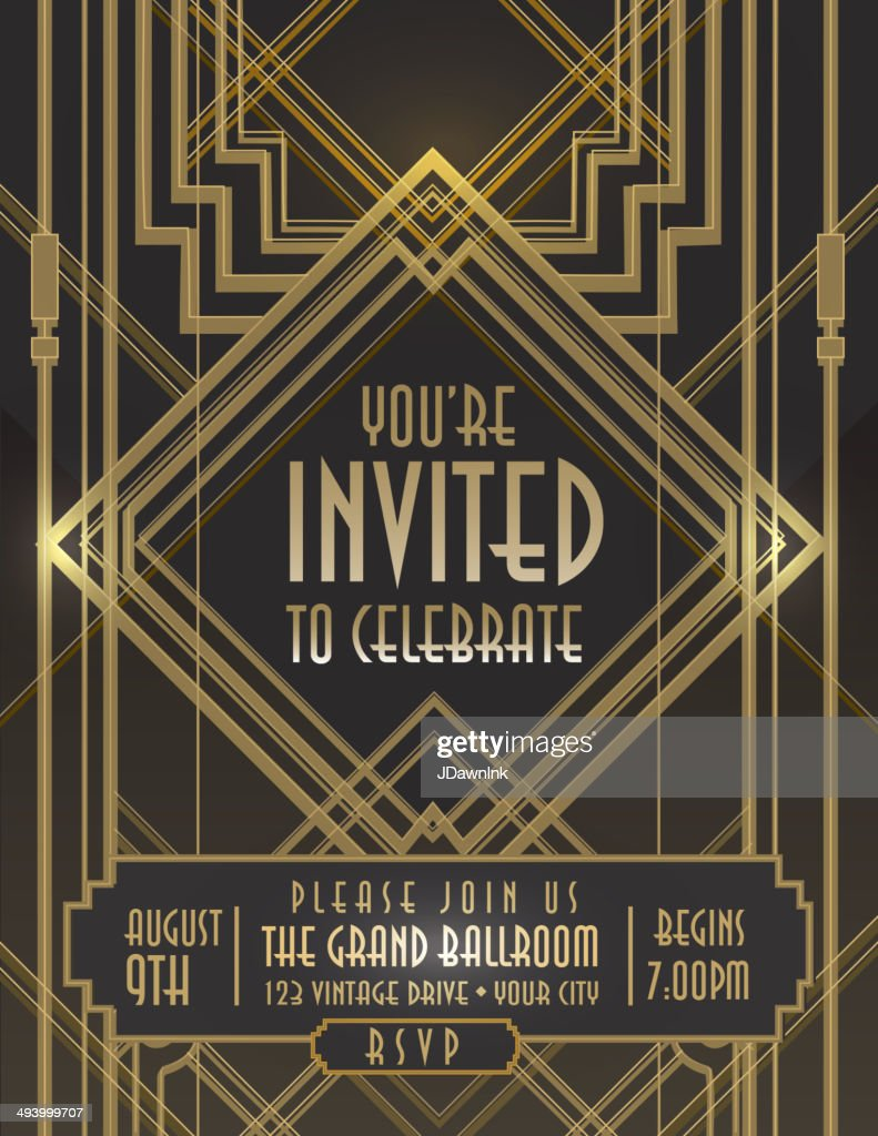 art deco style vintage invitation design template vector art getty images. Black Bedroom Furniture Sets. Home Design Ideas