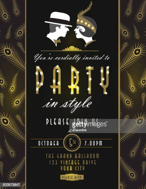 art deco style vintage invitation design template with couple - gatsby image stock illustrations