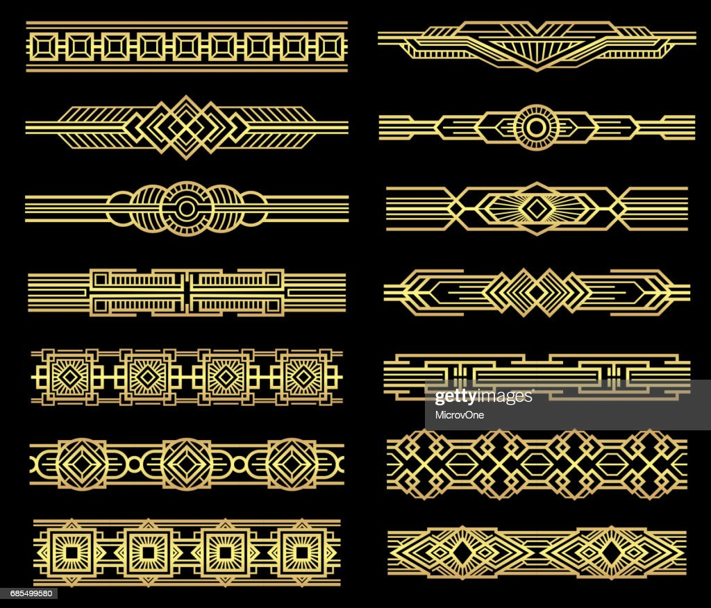 Art deco vector line borders set in 1920s graphic style