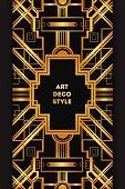 Art Deco vintage decorative frame. Retro card design template