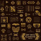 Art Deco Vintage Frames and Design Elements - hand drawn